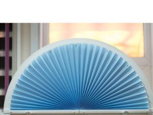 Пример работ Плиссе нестандартной формы полукруг неподвижная форма