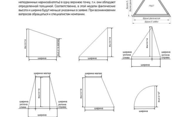 техническая документация по замеру плиссе сложных форм