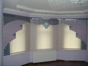 Приклад робіт Жалюзі вертикальні мультифактурні в срібних і бузкових тонах
