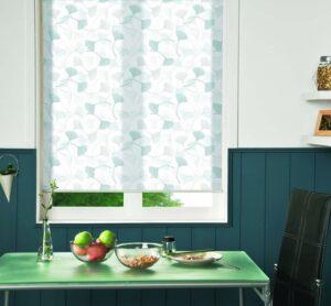 пример работы для рулонных штор классических с тканью Гингко белая