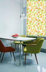 пример работы для рулонных штор классических с тканью Гингко желтая