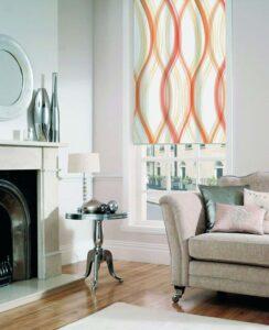 пример работы для рулонных штор классических с тканью Онда оранжевая