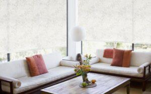 пример работы для рулонных штор классических с тканью Бланко