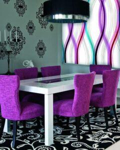 пример работы для рулонных штор классических с тканью Онда фиолетовая